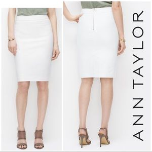 Ann Taylor Summer White Textured Zipper Pencil